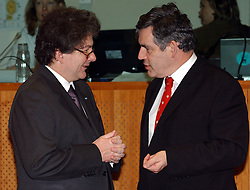 BRUSSELS, BELGIUM - MARCH-07-2005 - Thierry Breton, France's Finance Minister left, and Gordon Brown, UK's Finance Minister, chat during ECOFIN, the meeting of all the EU Finance and Economic Ministers, Monday, March 7, 2005, in Brussels, Belgium. (Photo © Jock Fistick)