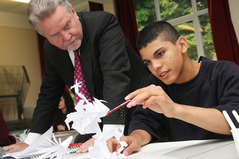 Rod Aldridge visits Falmer High School.This picture: Olsen Bodden 15 with his paper sculpture.Pics: Jonathan Goldberg.