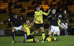 Falkirk's Blair Alston gets through. <br /> Livingston 1 v 1 Falkirk, Scottish Championship game at The Tony Macaroni Arena at 23/1/2016.