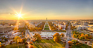 USA, Washington, DC. Autumn sunset over the National Mall as seen from the top of the U.S. Capitol.