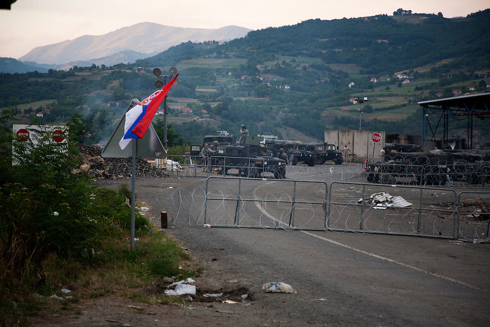 """American KFOR-occupied """"Gate 1"""" on the Serbian-Kosovo border, also known at Jarinje. The gate was closed to all traffic for at least two days but was opened within hours of this visit...Sunday July 31, 2011..Border crisis, July 2011"""