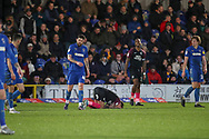 Peterborough United attacker Sammie Szmodics (9) with head on floor after a miss during the EFL Sky Bet League 1 match between AFC Wimbledon and Peterborough United at the Cherry Red Records Stadium, Kingston, England on 18 January 2020.