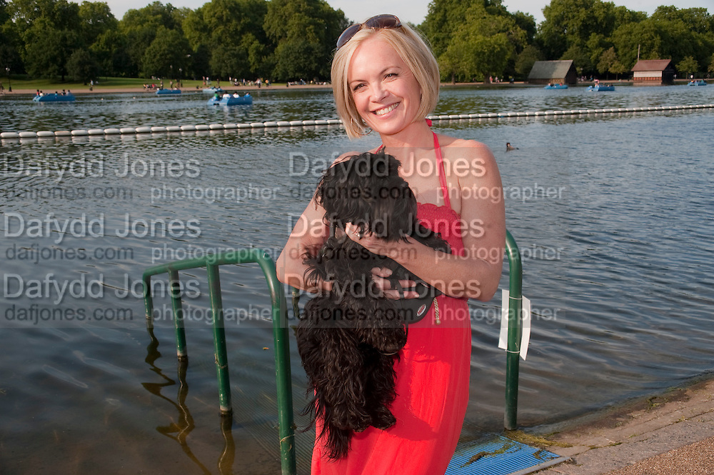 MARIELA FROSTRUP;  KATOOSHKA , Chucs Dive & Mountain Shop charity Swim Party: Lido at The Serpentine. London. 4 July 2011. <br /> <br />  , -DO NOT ARCHIVE-© Copyright Photograph by Dafydd Jones. 248 Clapham Rd. London SW9 0PZ. Tel 0207 820 0771. www.dafjones.com.