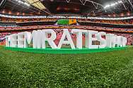 A general view inside Wembley Stadium of the Emirates FA Cup plaque during the The FA Cup semi-final match between Watford and Wolverhampton Wanderers at Wembley Stadium, London, England on 7 April 2019.