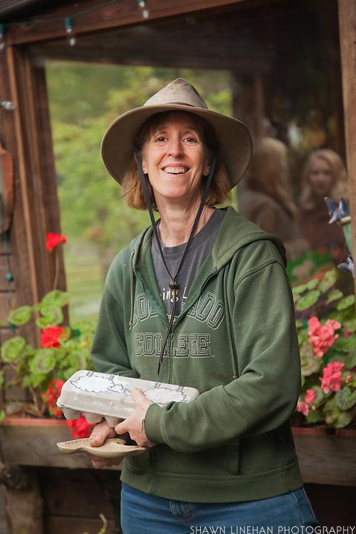Scottie Jones, proprietor of Leaping Lamb Farm in Alsea, Oregon.