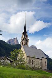 Church, Valle di Fassa, Sella Peaks, Dolomite Mountains, South Tyrol, Italy