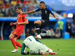 France's Kylian Mbappe has a shot blocked by France goalkeeper Hugo Lloris