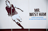 An advertising board shows a graphic of Mark Noble, West Ham United captain on the side of the London Stadium. Premier league match, West Ham Utd v West Bromwich Albion at the London Stadium, Queen Elizabeth Olympic Park in London on Saturday 11th February 2017.<br /> pic by John Patrick Fletcher, Andrew Orchard sports photography.