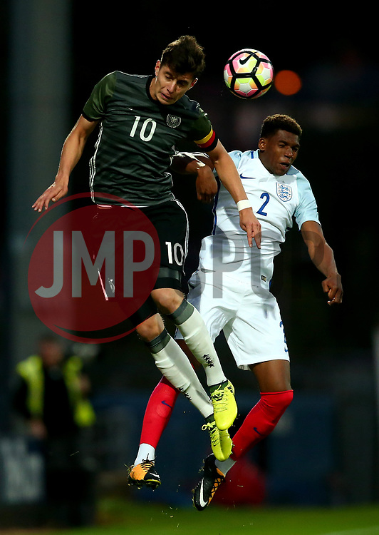 Kai Havertz of Germany Under 19s beats Dujon Sterling of England to a header - Mandatory by-line: Robbie Stephenson/JMP - 05/09/2017 - FOOTBALL - One Call Stadium - Mansfield, United Kingdom - England U19 v Germany U19 - International Friendly