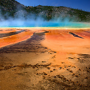 The brilliant colors and runoff channels of the Grand Prismatic Spring, Yellowstone National Park, Wyoming.