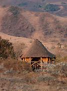 Hut accomodation at an Eco Tourist Campsite, Chyulu Hills region, Kenya
