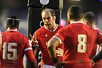 Rugby Union - 2021 Guinness Six Nations - Round Two - Scotland vs Wales - Murrayfield<br /> <br /> Alun Wyn Jones - Wales captain gives his players a pep talk under the posts, just after conceding a Scotland try.<br /> <br /> <br /> Credit : COLORSPORT/DAVID GIBSON
