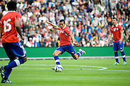 14.09.13. Brondby, Denmark.Chile's Alexis Sanchez in action against Irak during the international friendly match at the Brondby Stadium in Denmark.<br /> Photo: © Ricardo Ramirez