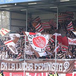 Die Fans vom FC St. Pauli   beim Spiel in der 2. Bundesliga, SV Sandhausen - FC St. Pauli.<br /> <br /> Foto © PIX-Sportfotos *** Foto ist honorarpflichtig! *** Auf Anfrage in hoeherer Qualitaet/Aufloesung. Belegexemplar erbeten. Veroeffentlichung ausschliesslich fuer journalistisch-publizistische Zwecke. For editorial use only. For editorial use only. DFL regulations prohibit any use of photographs as image sequences and/or quasi-video.