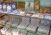 Display of tiles inside Santa Ana ceramic tile shop in Triana, Seville, Spain