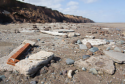 Remains of  buildings fallen into the sea at Tunstall; East Yorkshire; England