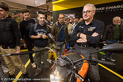 The all electric Zero Motorcycles booth during EICMA, the largest international motorcycle exhibition in the world. Milan, Italy. November 20, 2015.  Photography ©2015 Michael Lichter.