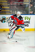 KELOWNA, BC - DECEMBER 18: Cole Schwebius #31 of the Kelowna Rockets warms up on the ice with the puck against the Vancouver Giants at Prospera Place on December 18, 2019 in Kelowna, Canada. (Photo by Marissa Baecker/Shoot the Breeze)