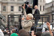 Pink was a surprise guest during the filming of the new T_Mobile TV advert, no dancing this time - it was a mass sing-a-long. Members of the public swamped Pink as she sung and led the crowd in song