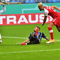 13.09.2020, Carl-Benz-Stadion, Mannheim, GER, DFB-Pokal, 1. Runde, SV Waldhof Mannheim vs. SC Freiburg, <br /> <br /> DFL REGULATIONS PROHIBIT ANY USE OF PHOTOGRAPHS AS IMAGE SEQUENCES AND/OR QUASI-VIDEO.<br /> <br /> im Bild: Vincenzo Grifo (SC Freiburg #32) gegen Marcel Hofrath (SV Waldhof Mannheim #31) und Jan-Christoph Bartels (SV Waldhof Mannheim #23)<br /> <br /> Foto © nordphoto / Fabisch