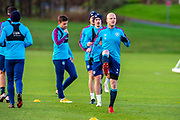 Steven Naismith (#14) of Heart of Midlothian FC leads the players in training during the Heart of Midlothian press conference and training session at Oriam Sports Performance Centre, Edinburgh, Scotland on 23 November 2020.