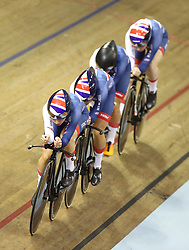 Great Britain's riders during the Team Pursuit Women's Gold Final during day two of the 2018 European Championships at the Sir Chris Hoy Velodrome, Glasgow.
