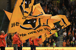 Wolverhampton Wanderers flags are waved prior to kick off - Mandatory by-line: Paul Roberts/JMP - 14/10/2017 - FOOTBALL - Molineux - Wolverhampton, England - Wolverhampton Wanderers v Aston Villa - Skybet Championship