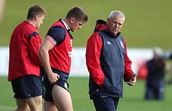 British & Irish Lions head coach Warren Gatland with Owen Farrell during the training session at the QBE Stadium, Auckland.