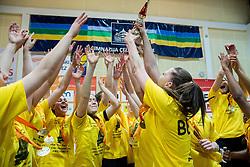 Rebeka Abramovic and other players of Athlete Celje celebrate after winning the basketball game between ZKK Athlete Celje and ZKK Triglav Kranj in Final of Slovenian Women National Championship 2014, on April 16, 2014 in Celje, Slovenia. Athlete Celje won 3-0 and became Slovenian Women Basketball Champion 2014. Photo by Vid Ponikvar / Sportida