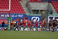 Scarlets players look dejected as the final whistle goes, having conceded a late converted try by Saracens which ended in a draw. European rugby Champions cup match, pool 3, Scarlets  v Saracens at the Parc y Scarlets in Llanelli, West Wales on Sunday 15th January 2017.<br /> pic by  Andrew Orchard, Andrew Orchard sports photography.