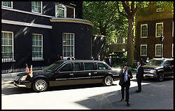 The  US President Barack Obama arrives in his limousine in Downing Street, London, On day 2 of his UK tour, Wednesday May 25,2011. Photo By Andrew Parsons/Parsons Media