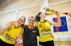 Tina Jakovina of Athlete Celje, Zane Bortek  and Eva Lisec of Athlete Celje celebrate after winning during basketball match between ZKK Athlete Celje and ZKK Triglav in Finals of 1. SKL for Women 2014/15, on April 20, 2015 in Gimnazija Celje Center, Celje, Slovenia. ZKK Athlete Celje became Slovenian National Champion 2015. Photo by Vid Ponikvar / Sportida