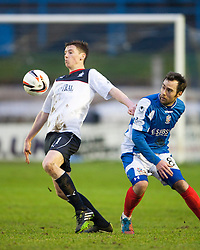 Falkirk's Conor McGrandles and Cowdenbeath's Jamie Stevenson.<br /> Cowdenbeath 0 v 2 Falkirk, Scottish Championship game today at Central Park, the home ground of Cowdenbeath Football Club.<br /> © Michael Schofield.