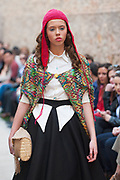 MURCIA, ESPANA - 14 DE ABRIL: Desfile de Nerea Jimenez - Pasarela Las Claras en el Aula Cultural Fundacion Cajamurcia Las Claras el martes 14 de abril de 2015 en Murcia, Espana. (Photo by Aitor Bouzo)