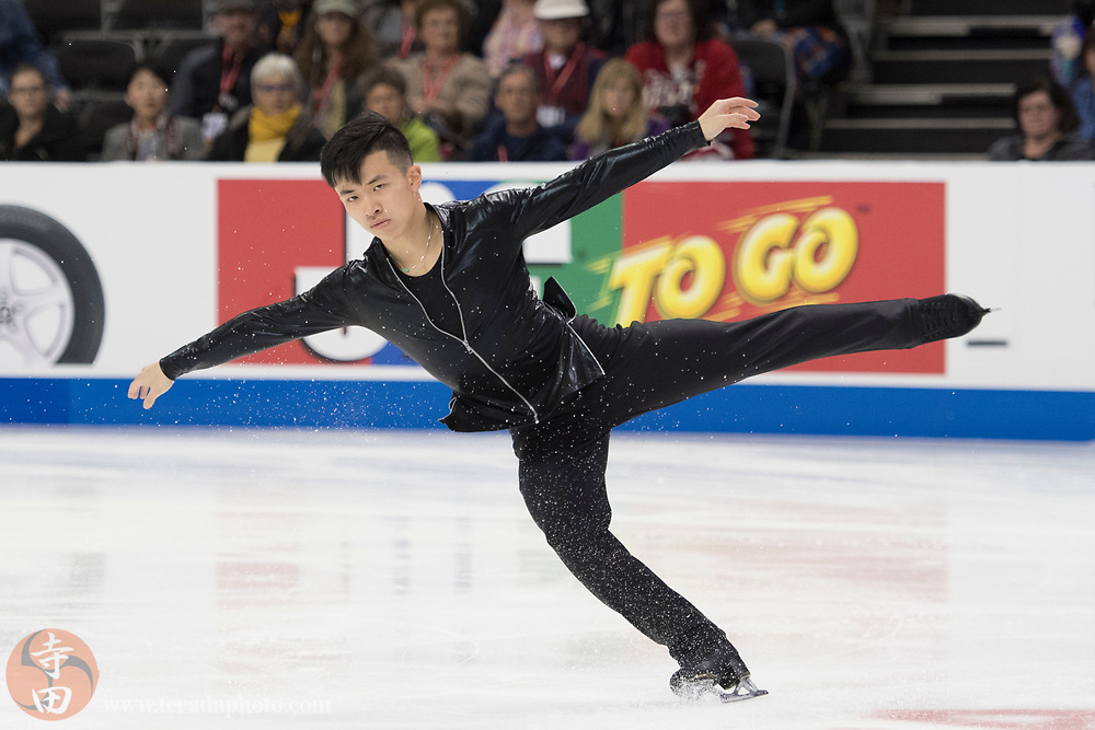 January 4, 2018; San Jose, CA, USA; Jimmy Ma in the mens short program during the 2018 U.S. Figure Skating Championships at SAP Center.