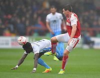 Fleetwood Town's Bobby Grant battles with Coventry City's Gael Bigirimana<br /> <br /> Photographer Dave Howarth/CameraSport<br /> <br /> The EFL Sky Bet League One - Fleetwood Town v Coventry Town - Saturday 3 September 2016 - Highbury Stadium - Fleetwood<br /> <br /> World Copyright © 2016 CameraSport. All rights reserved. 43 Linden Ave. Countesthorpe. Leicester. England. LE8 5PG - Tel: +44 (0) 116 277 4147 - admin@camerasport.com - www.camerasport.com