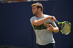June 23, 2017 - London, United Kingdom - Ryan Harrison of the US practices at The Queen's Club, London on June 22, 2017. The players use the grass courts to train themselves before the start of Wimbledon Championships. (Credit Image: © Alberto Pezzali/NurPhoto via ZUMA Press)