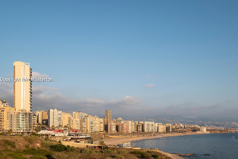 View of housing on the Mediterranean coast in Beirut, Lebanon