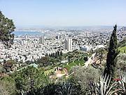 Israel, Haifa. downtown and the bay of Haifa as seen from mount Carmel