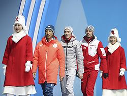 PYEONGCHANG, Feb. 15, 2018  Gold medalist Eric Frenzel (C) from Germany, silver medalist Akito Watabe (2nd L) from Japan and bronze medalist Lukas Klapfer from Austria (2nd R) walk to podium during the medal ceremony of individual gundersen NH/10KM event of nordic combined at Pyeongchang 2018 Winter Olympic Games at Medal Plaza, PyeongChang, South Korea, Feb. 15, 2018. (Credit Image: © Wu Zhuang/Xinhua via ZUMA Wire)