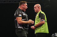 Gerwyn Price hits a double and wins a leg during the Grand Slam of Darts, at Aldersley Leisure Village, Wolverhampton, United Kingdom on 17 November 2019.