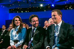 "Handout - Queen Rania of Jordan and Hussein, Crown Prince of Jordan, Majid Jafar during the Session ""A Conversation with King Abdullah II of Jordan"" at the Annual Meeting 2018 of the World Economic Forum in Davos, January 24, 2018. Photo byFaruk Pinjo/World Economic Forum via ABACAPRESS.COM"