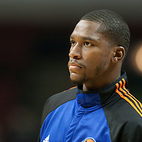 17 December 2009: New York Knicks Toney Douglas is seen prior to the Chicago Bulls 98-89 victory over the New York Knicks at the United Center, in Chicago, Illinois, USA.