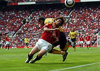 Park Ji Sung Manchester United/Aaron Hughes Aston Villa<br />The Premier League<br />Manchester United V Aston Villa 20/08/05<br />Photo Robin Parker Fotosports International
