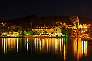 Sipanska Luka at night, Sipan Island, Dalmatian Coast, Croatia