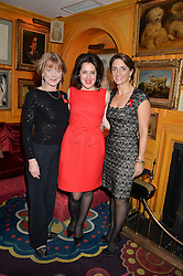 Left to right, SAMANTHA BOND, EMMA FRANCE and CAROLINA MANHUSEN SCHWAB at the mothers2mothers 15 Years of Wonder Women at held at Annabel's, Berekely Square, London on 9th November 2016.