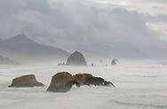 Ecola Beach, Oregon, afternoon fog,