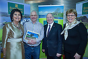 NO FEE PICTURES<br /> 23/1/16 Minister for Tourism Michael Ring and Maureen Ledwith, organiser of the Holiday World Show at the Rushin House Caravan Park stand at the Holiday World Show at the RDS in Dublin. Picture: Arthur Carron