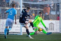 Raith Rovers Kevin Nisbet misses a chance. Forfar Athletic 3 v 2 Raith Rovers, Scottish Football League Division One played 27/10/2018 at Forfar Athletic's home ground, Station Park, Forfar.