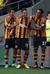 Hull City's Robbie Brady celebrates his goal  - Photo mandatory by-line: Matt Bunn/JMP - Tel: Mobile: 07966 386802 24/08/2013 - SPORT - FOOTBALL - KC Stadium - Hull -  Hull City V Norwich City - Barclays Premier League